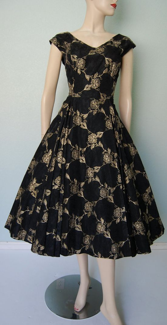 1950s Embroidered Taffeta Party Dress