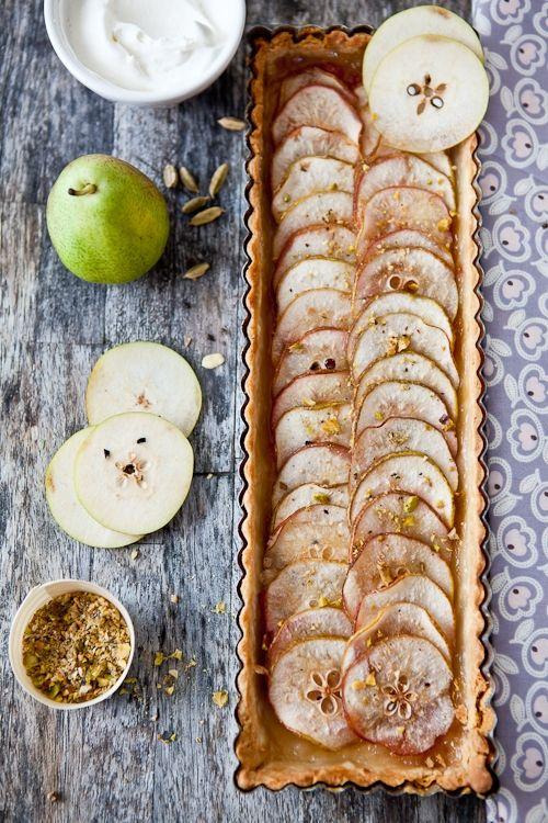 Thin crust pear tart #foodporn