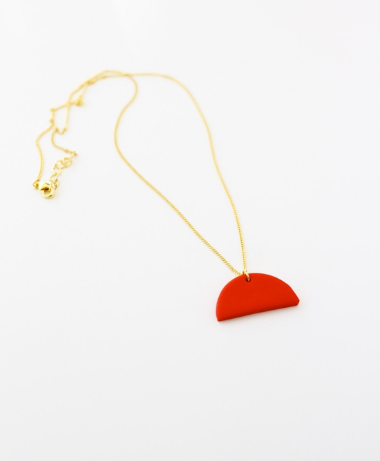 red half circle necklace by AMM Jewelry