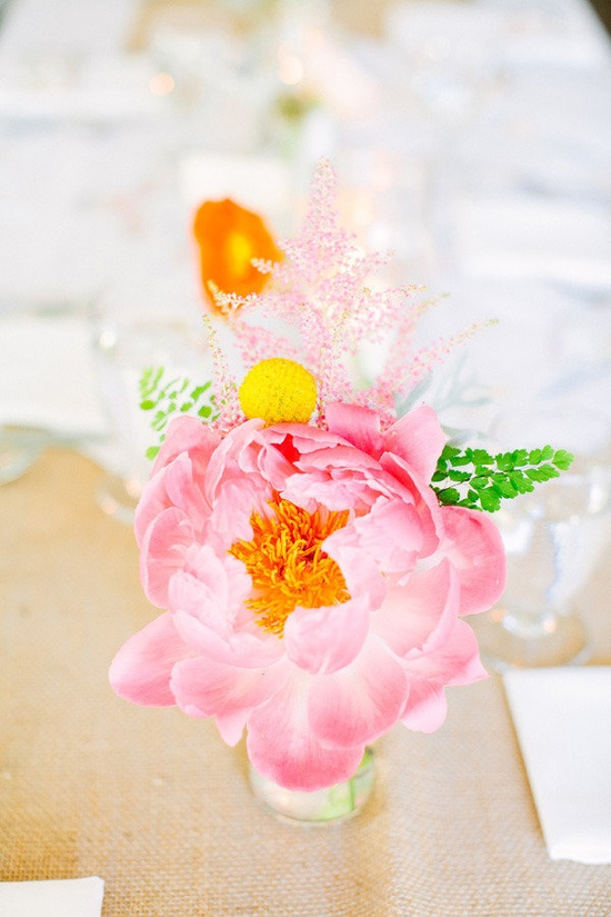 coral peony centerpieces Photography by lisarigbyphotogra..., Floral Design by petalena.com