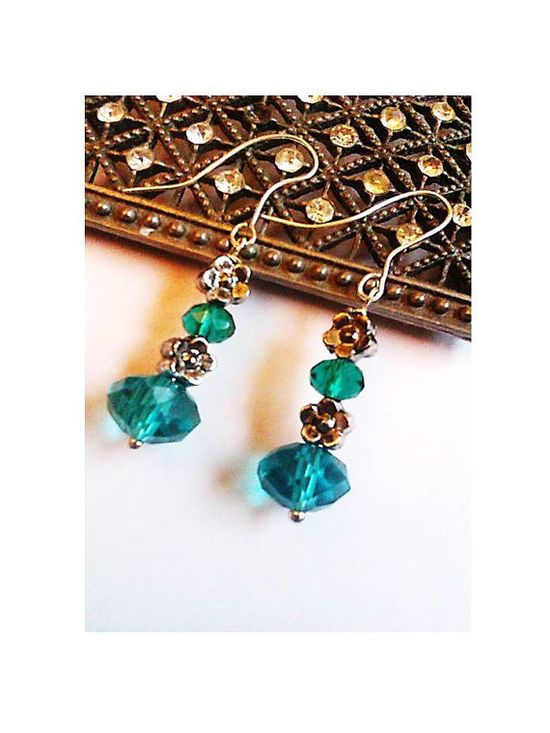 Turquoise Crystal and Flower Bead Handmade Earrings - £9.00