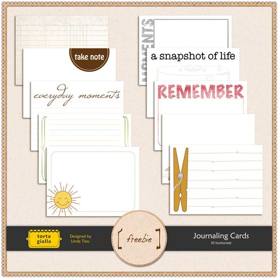 Free Horizontal Journal Cards Mix #journaling cards #projectlife