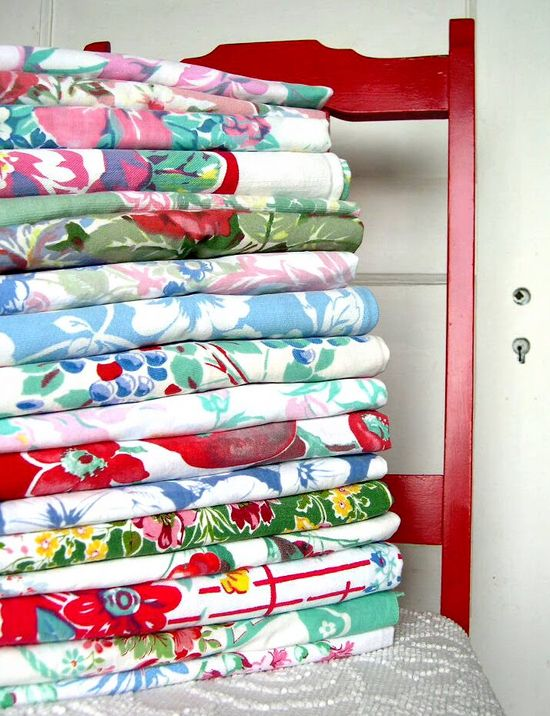 Stack of vintage tablecloths