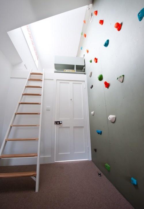 top bunk, closet, and a rock climbing wall?? awesome