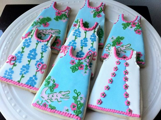 Lilly Pulitzer Inspired Shift Dress Decorated Cookies, Later Gator Print, Perfect for your summer party.. via Etsy.