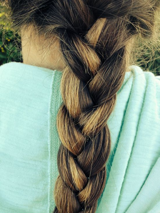 French braid, blonde highlights