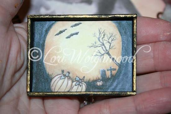 Moonlit Pumpkins for Doll House Hand Painted Miniature Print - Vintage Nest Designs, Creative Handmade and Hand Painted Designs