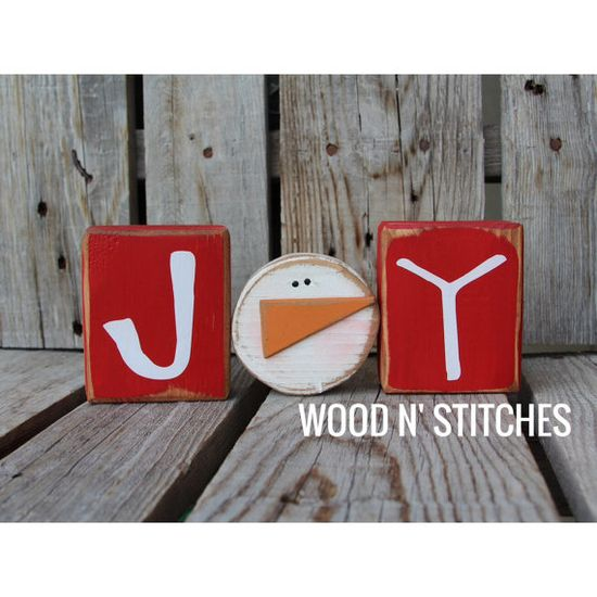 Christmas JOY snowman wood BLOCK SET primitive country seasonal home winter christmas personalized gift decor on Etsy, $14.95