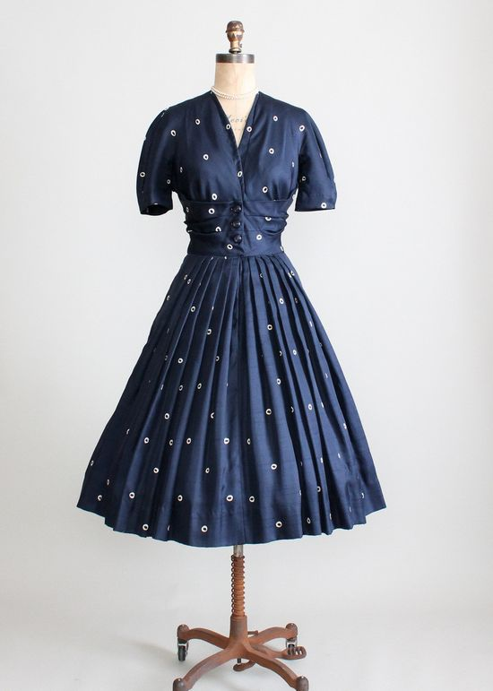 Vintage 1950s Navy Silk Dot Luncheon Dress #dress #1950s #partydress #vintage #frock #silk #retro #teadress #petticoat #romantic #feminine #fashion #polkadotsprint
