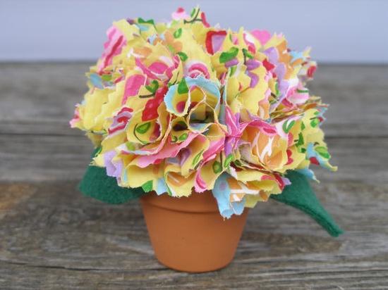 Handmade Fabric Flowers in Mini Terracotta Pot