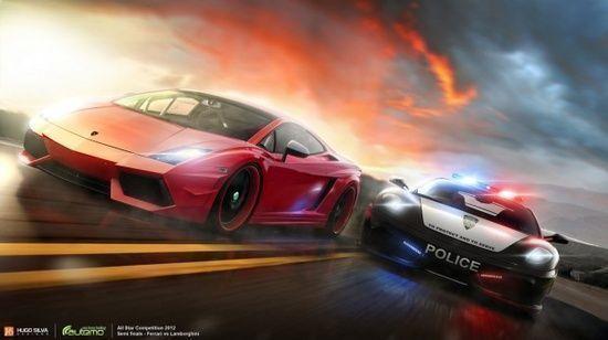 #Ferrari vs #Lamborghini, #3D, #Cars, #Chase, #Paintings