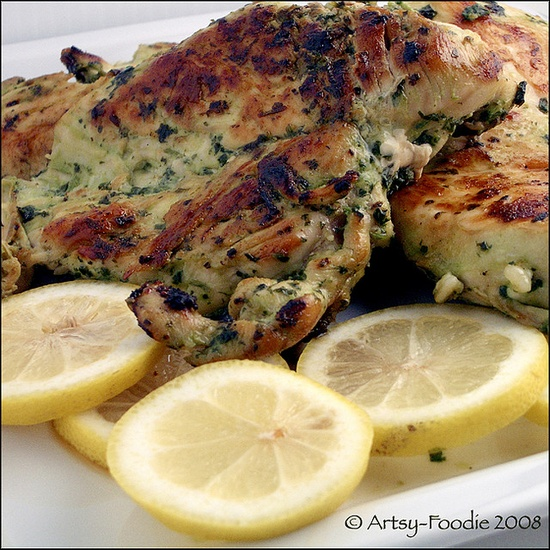Cilantro Thai Grilled Chicken with Lemons
