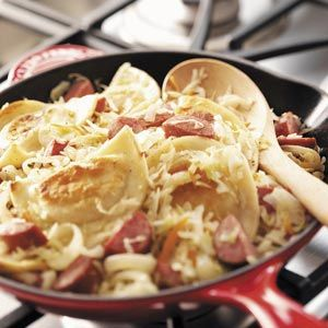 Sausage Pierogi Skillet Recipe from Taste of Home -- shared by Susan Held of Cooksville, Maryland
