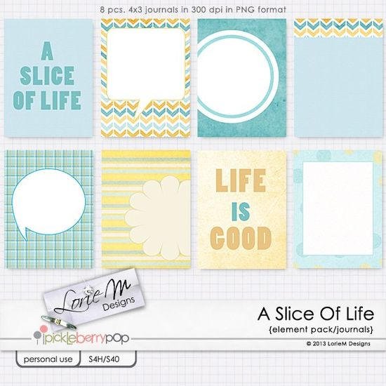 A Slice Of Life journal cards freebie from Lorie M Designs