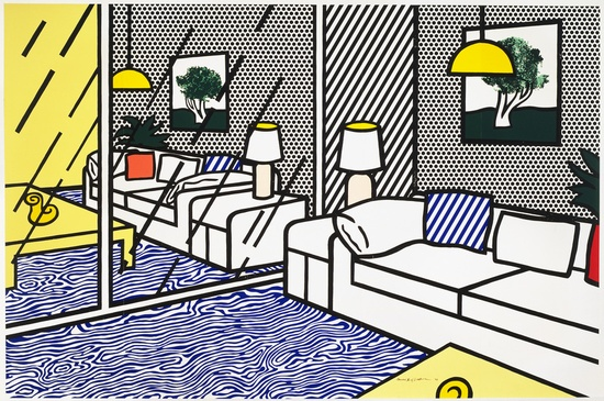 Roy Lichtenstein  Wallpaper with Blue Floor Interior, 1992