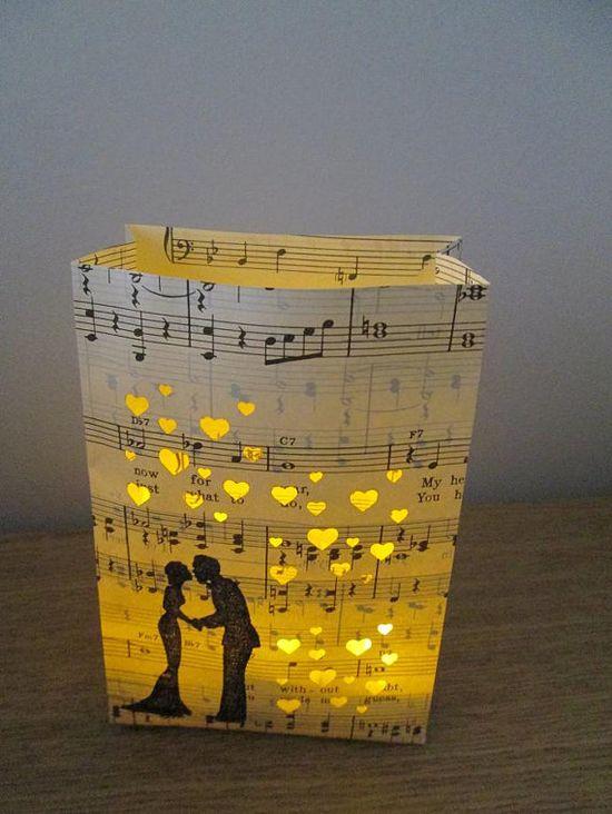 5 Luminary Bags, Bride & Groom, Paper Lanterns, Wedding Lanterns, Engagement Party, Wedding Shower, Rehearsal Dinner, Music Decorations