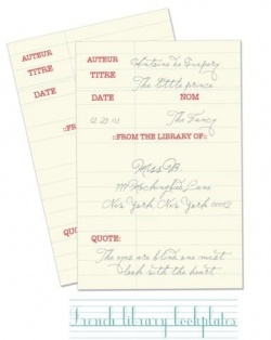 free printable bookplate - french library stamp theme