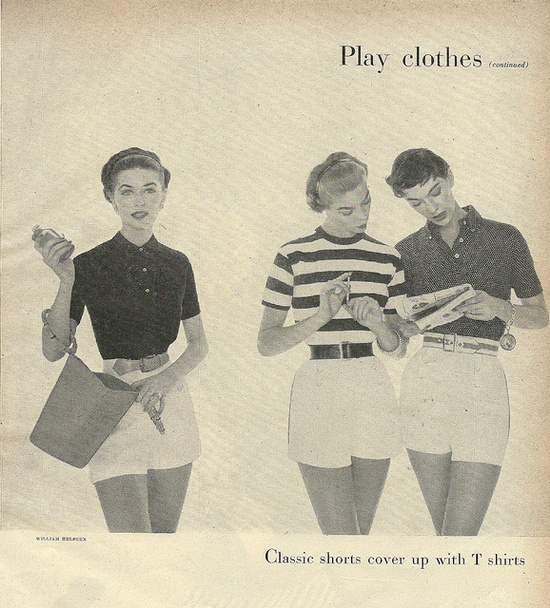 Classic summer play clothes idea from 1954. #vintage #1950s #fashion #shorts