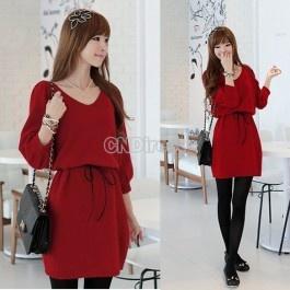 $11.04 New Korea Fashion Women V-neck Long Sleeve KnittingRed Dress with Belt