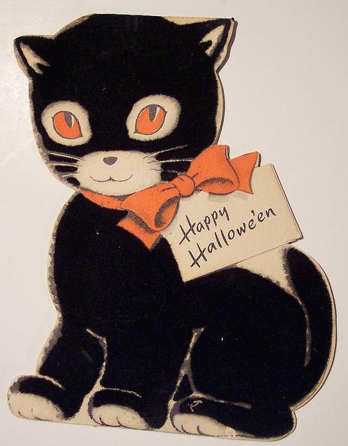 Vintage Halloween Diecut Cat Card    1956