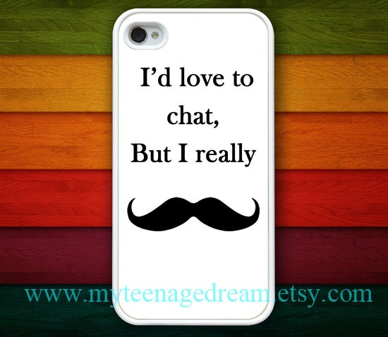 iphone 4 case, iPhone 4s Case, iPhone 4 Hard Case, I Love Mustache white iPhone Case hard case for iphone 4, iphone 4S. $9.99, via Etsy.