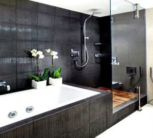 shower open to tub.