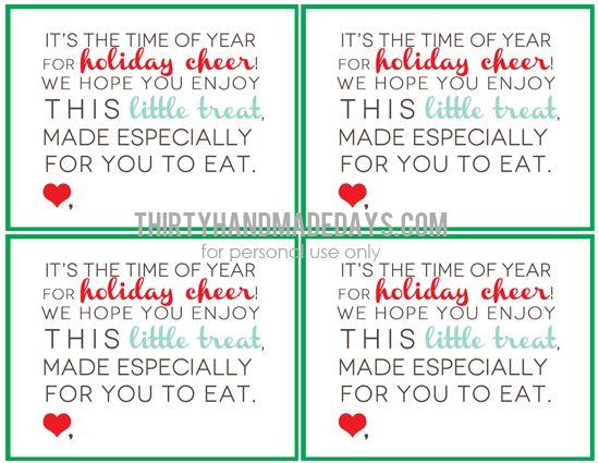 Christmas Treat Printable