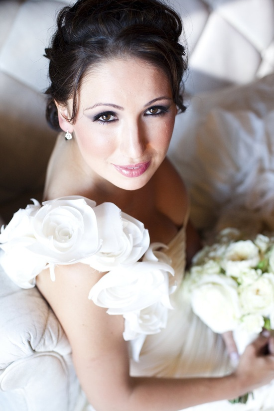 one shoulder strap of flowers is perfection! beautiful hair and make up too