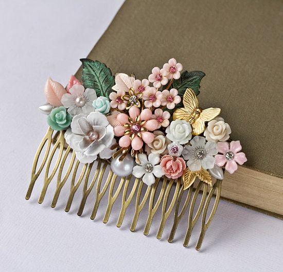 Bridal Hair Comb - Pink Shabby Chic Hair Comb, Wedding Hair Comb, Spring Vintage Bridal Hair Accessories, Bridesmaid Gift, Collage