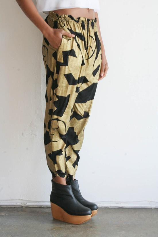 Gold Black Pattern Pant