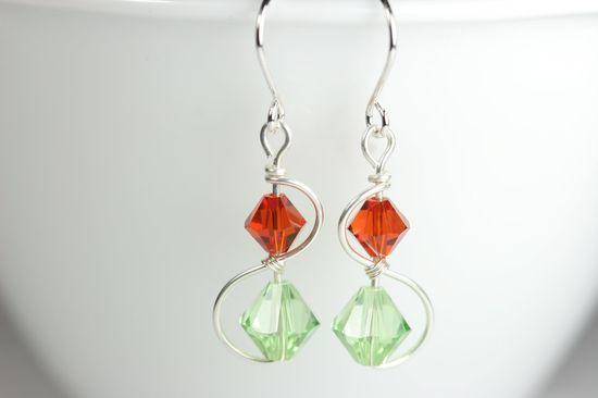 Peridot Swarovski Crystal Earrings Wire Wrapped Jewelry Handmade Sterling Silver Jewelry Handmade Green Swarovski Earrings Orange Earrings. $20.00, via Etsy.