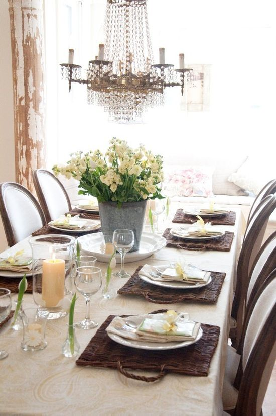 French country table/ chandelier