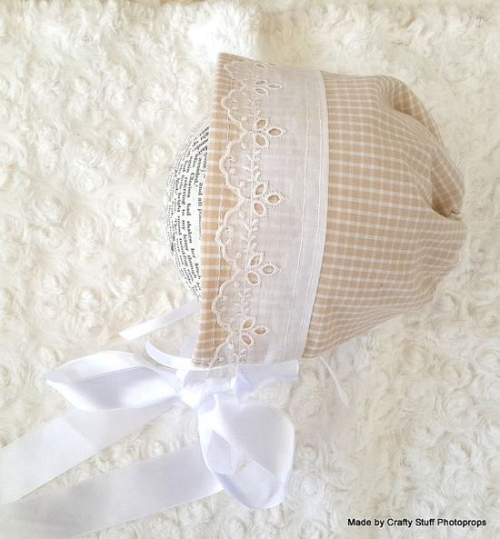 Vintage Style Fabric Bonnet in Beige Gingham and Ribbon  (OOAK )