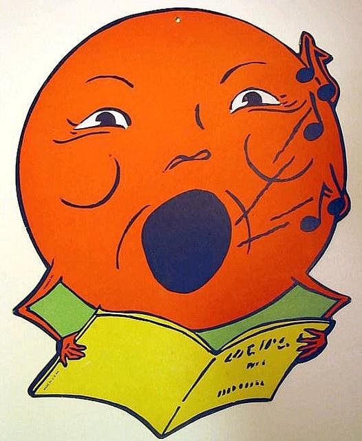 Vintage Halloween Beistle Singing Moon Die Cut Decoration.