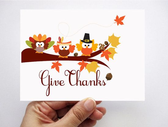 Thanksgiving Card set of 6  Give Thanks adorable by Mariapalito