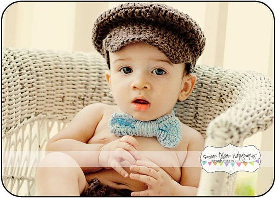 Crochet Jeffs Cap Bow Tie Diaper Cover by Mary's Daughters on Etsy, $25.00