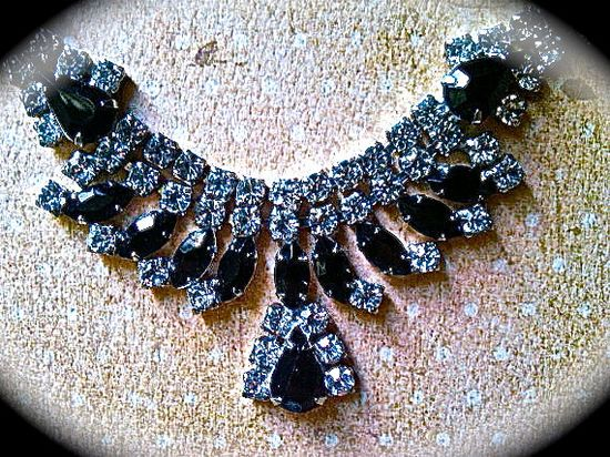 Black statement rhinestone necklace FREE by JNPVintageJewelry, $45.00