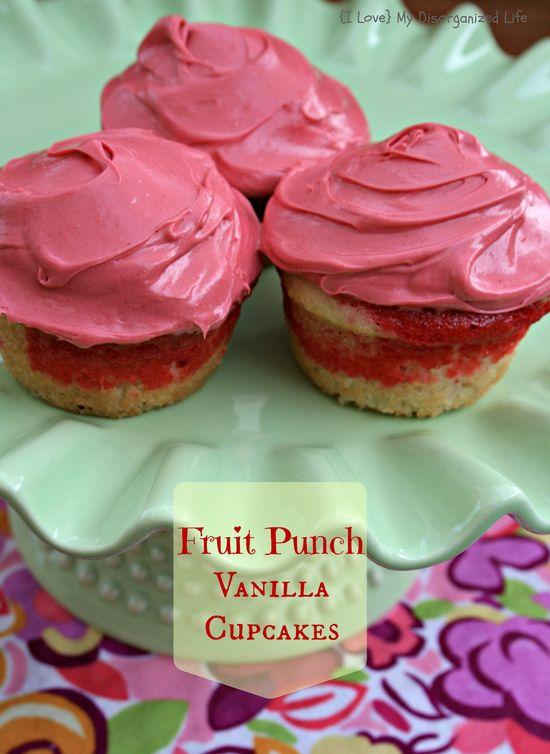 Fruit Punch Vanilla Cupcakes....