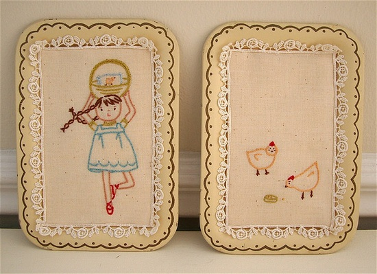 embroidery. i like how these are displayed on old trays