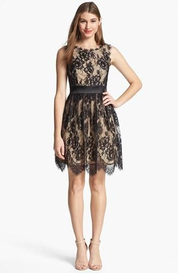 Love the black lace on nude!