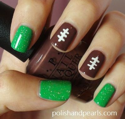 Football inspired nails with #green glitter representing grass and two #brown #football #nails. So cute for football season:) - DIY NAIL ART DESIGNS