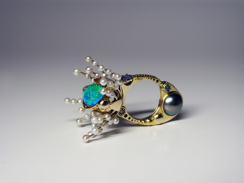 MYSTICAL FLOWERING    14KT GOLD, 925 SILVER, BLUE DIAMONDS,  OPAL, TAHITIAN PEARLS, TANZANITE,  FRESHWATER PEARLS.    Exposition, Claudio Pino