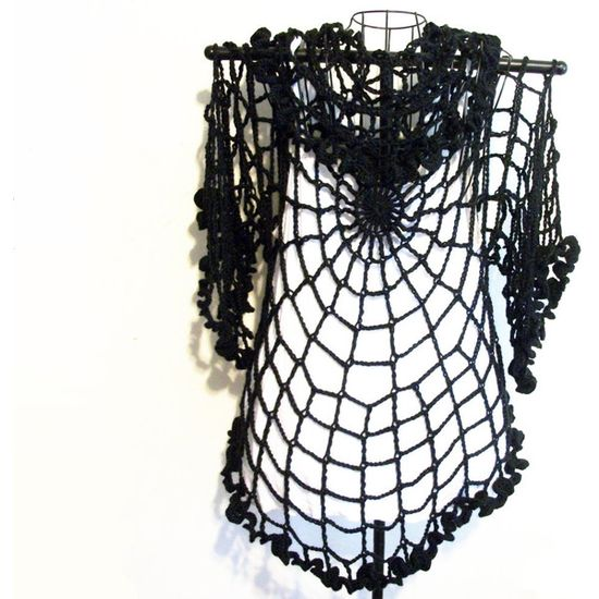Goth Black Spiderweb Ruffled Crochet Cardigan Shrug Plus Size One Size Fits All Gothic Halloween Clothing (€58) found on Polyvore