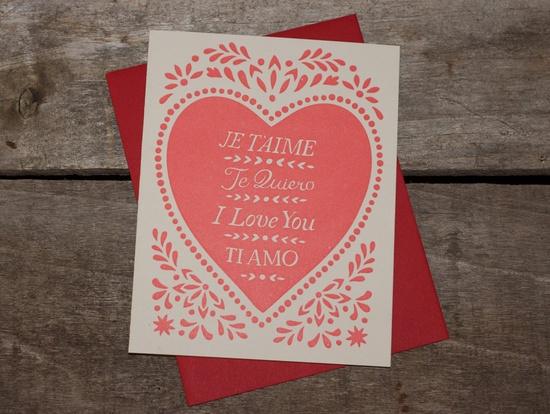 set of five hand-printed letterpress JE T'AIME cards. $18.00, via Etsy.