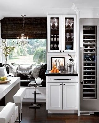 great kitchen corner with the wine fridge and black and white ?