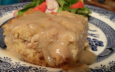 Southern Chicken and Cornbread Dressing with Homemade Chicken Gravy