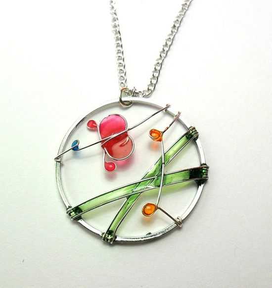 A Fuchsia Butterfly in a Spring Dream- Wire Wrapped Circle Pendant