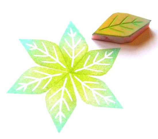 Unmounted rubber stamp leaf or petal hand by GreenGardenStamps, $4.00