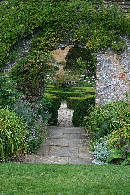 Beautiful garden entrance at broughton castle garden -