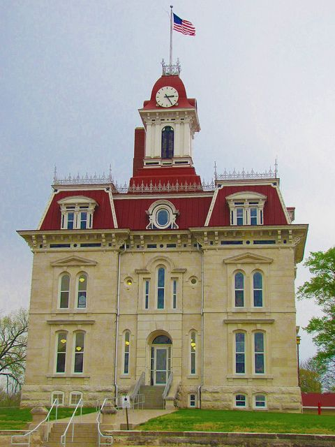 The most recognized courthouse in the state. Cottonwood Falls, Kansas.